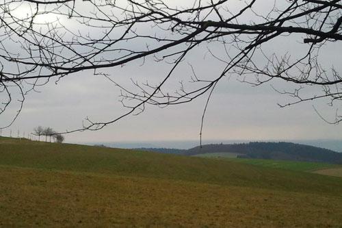 Heute hat der Rheinhessenblick seinem Namen alle Ehre gemacht. Auf den Foto zwar kaum zu sehen, aber ganz deutlich erkannte ich die Windräder drüben in der Heimat.