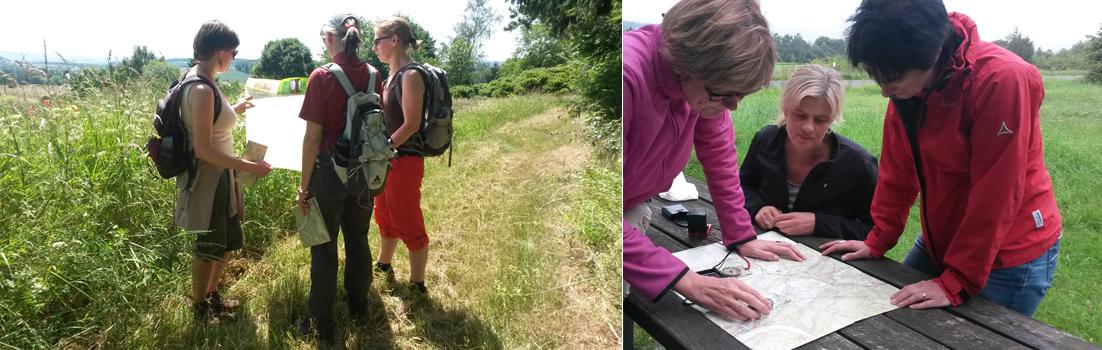 Du lernst praktisch im Gelände mit Hilfe einer Karte Deinen Standort zu bestimmen und nach Kompass zu gehen.