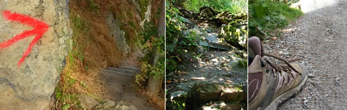 Im Kurs lernst Du trittsicher auf unebenen und steilen Untergründen bergauf und bergab zu gehen.