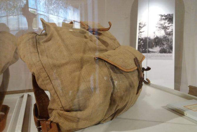 Rucksack von Hermann Hesse in der Eisenacher Ausstellung.