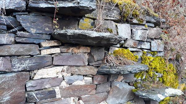 Trockenmauer aus Schiefer mit Treppe aus Schieferplatten.