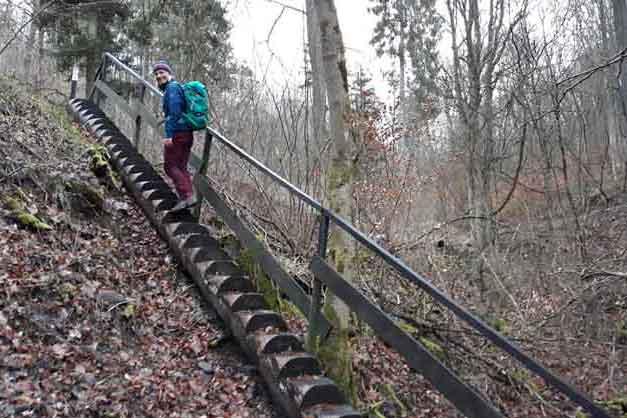 Hildegard von Bingen Weg Holztreppe