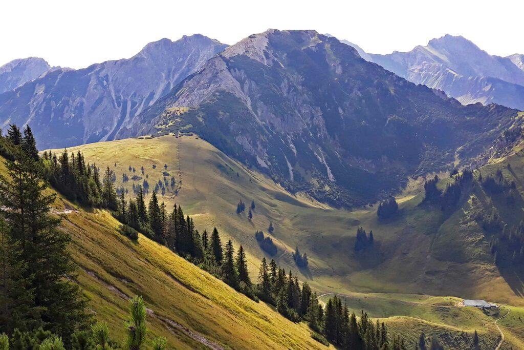 Blick vom Iseler Gipfel zu Bschiesser und Ponten